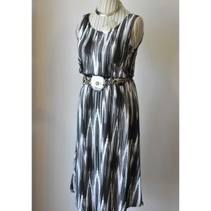 One World Black and White Aztec Tie Dyed Dress
